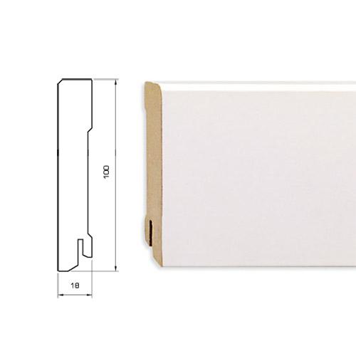 Плинтус белый плоский MDF 100 мм