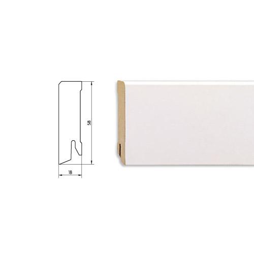 Плинтус белый плоский MDF 58 мм