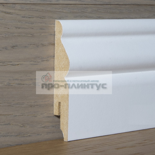 Плинтус Perfilstar МДФ белый фигурный 100×14мм