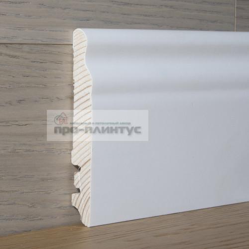 Плинтус Tecnorivest деревянный белый фигурный 100×15мм
