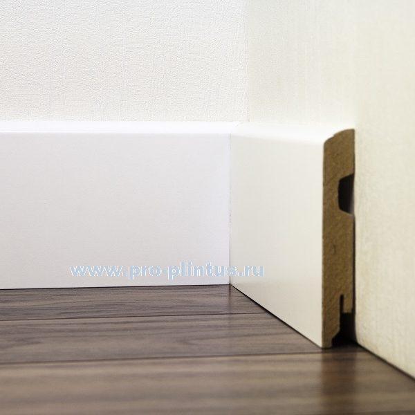 Плинтус МДФ белый плоский 100 мм