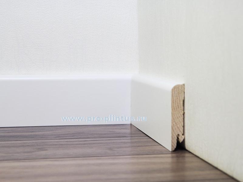 Плинтус деревянный Pedross Белый гладкий 80x20