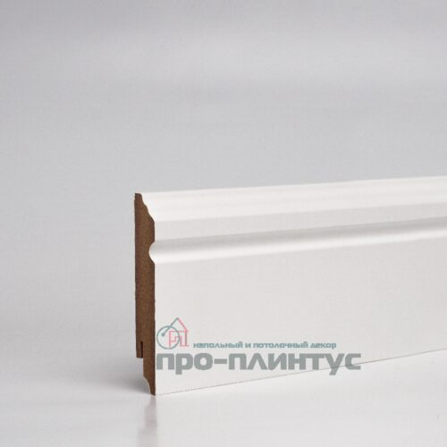Плинтус МДФ 100x16 мм белый фигурный TeckWood