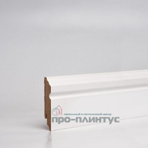 Плинтус МДФ 80x16 мм белый фигурный TeckWood