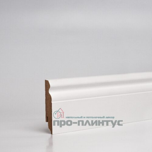Плинтус МДФ 80x16 мм белый фигурный TeckWood Classic
